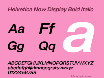Helvetica Now Display Bd It Version 1.001, build 8, s3图片样张