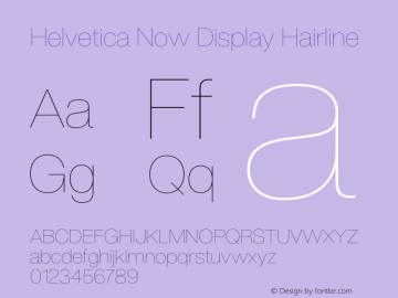 Helvetica Now Display Hairline Version 1.001, build 8, s3图片样张