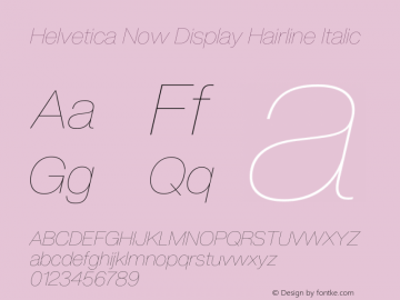 Helvetica Now Display Hair It Version 1.001, build 8, s3图片样张