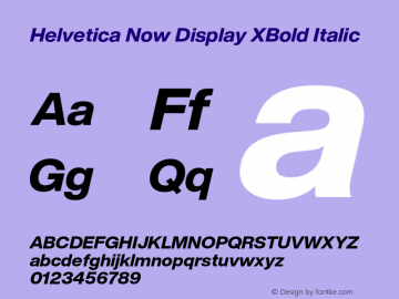 Helvetica Now Display XBd It Version 1.001, build 8, s3图片样张