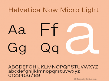 Helvetica Now Micro Light Version 1.001, build 8, s3图片样张