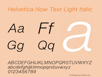 Helvetica Now Text Lt It Version 1.001, build 8, s3图片样张