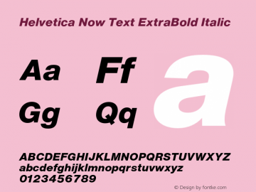 Helvetica Now Text XBd It Version 1.001, build 8, s3图片样张