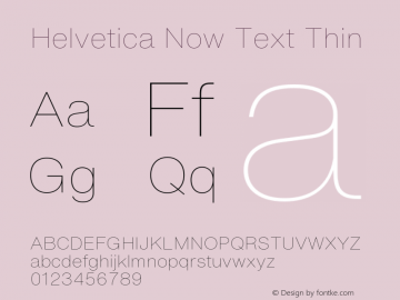 Helvetica Now Text Thin Version 1.001, build 8, s3图片样张