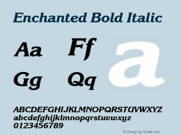 Enchanted Bold Italic Font Version 2.6; Converter Version 1.10 Font Sample