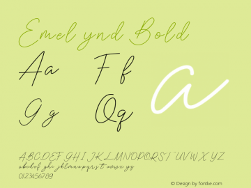 Emelynd Bold Version 1.00;March 24, 2020;FontCreator 11.5.0.2422 64-bit图片样张