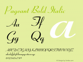 Pageant Bold Italic Font Version 2.6; Converter Version 1.10 Font Sample