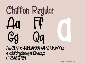 Chiffon Version 1.00;March 25, 2020;FontCreator 12.0.0.2525 32-bit图片样张