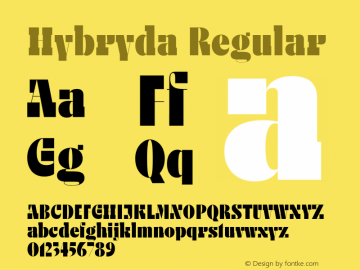 HybrydaRegular Version 1.000;hotconv 1.0.109;makeotfexe 2.5.65596图片样张