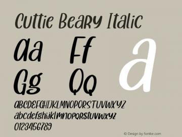 CuttieBeary-Italic 1.000图片样张