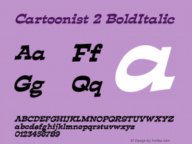 Cartoonist 2 BoldItalic Altsys Fontographer 4.1 5/31/96 Font Sample