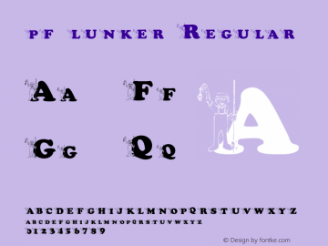 pf_lunker Regular 2001; 1.0, initial release Font Sample