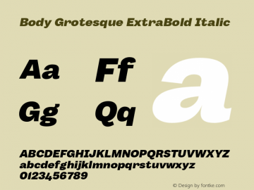 BodyGrotesque-ExtraBoldItalic Version 1.006图片样张