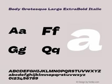 BodyGrotesque-LargeExtraBoldIt Version 1.006图片样张