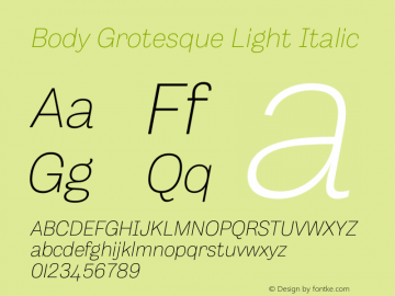 BodyGrotesque-LightItalic Version 1.006图片样张