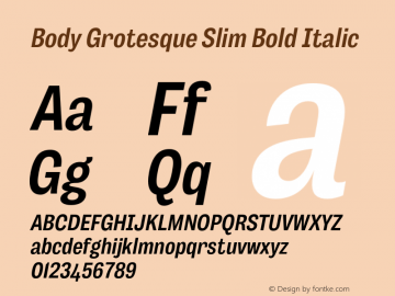 BodyGrotesque-SlimBoldItalic Version 1.006图片样张