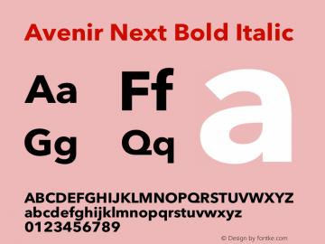 Avenir Next Bold Italic 13.0d1e10图片样张