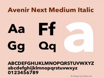 Avenir Next Medium Italic 13.0d1e10图片样张