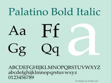 Palatino Bold Italic 13.0d1e2图片样张
