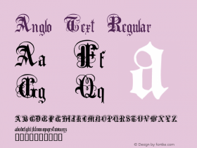 Anglo Text Regular Macromedia Fontographer 4.1 2001-02-17 Font Sample