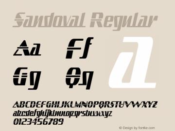 Sandoval Regular Version 1.0; 2001; initial release Font Sample