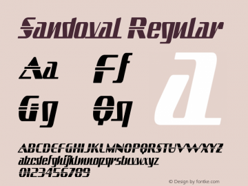 Sandoval Regular Version 3.001 Font Sample
