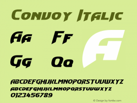Convoy Italic Version 1.00 April 25, 2013, initial release Font Sample
