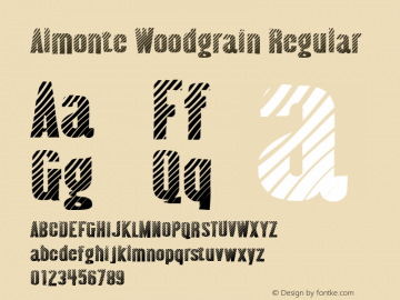 Almonte Woodgrain Regular Version 3.000 2005 Font Sample