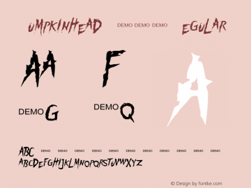 Pumpkinhead DEMO Regular 1.0  DEMO $5 Font Sample