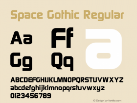 Space Gothic Regular Version 1.0; 2001; initial release Font Sample