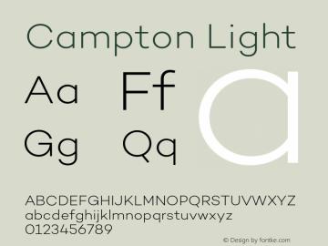 Campton Light Version 1.002;PS 001.002;hotconv 1.0.88;makeotf.lib2.5.64775图片样张
