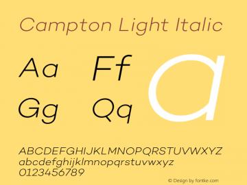 Campton Light Italic Version 1.002;PS 001.002;hotconv 1.0.88;makeotf.lib2.5.64775图片样张