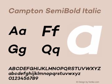 Campton SemiBold Italic Version 1.002;PS 001.002;hotconv 1.0.88;makeotf.lib2.5.64775图片样张