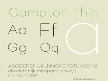 Campton Thin Version 1.002;PS 001.002;hotconv 1.0.88;makeotf.lib2.5.64775图片样张