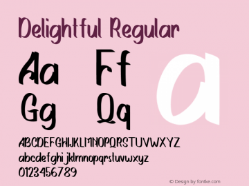 Delightful Version 1.00;March 30, 2020;FontCreator 12.0.0.2563 64-bit图片样张