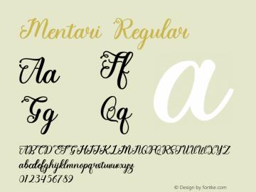 Mentari Version 1.00;April 11, 2020;FontCreator 11.5.0.2422 64-bit图片样张