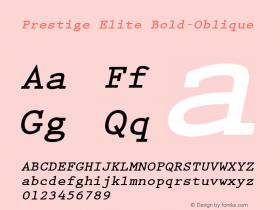 Prestige Elite Bold-Oblique 1.000 Font Sample