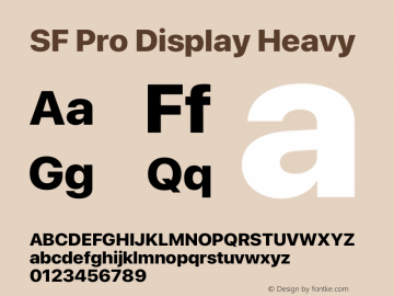 SF Pro Display Heavy Version 15.0d4e20图片样张