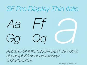 SF Pro Display Thin Italic Version 15.0d4e20图片样张