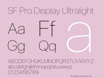 SF Pro Display Ultralight Version 15.0d4e20图片样张