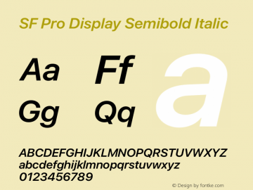 SF Pro Display Semibold Italic Version 15.0d4e20图片样张