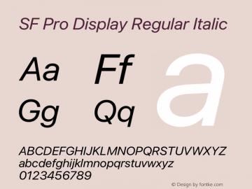 SF Pro Display Regular Italic Version 15.0d4e20图片样张