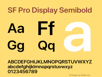 SF Pro Display Semibold Version 15.0d4e20图片样张