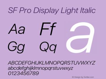 SF Pro Display Light Italic Version 15.0d4e20图片样张