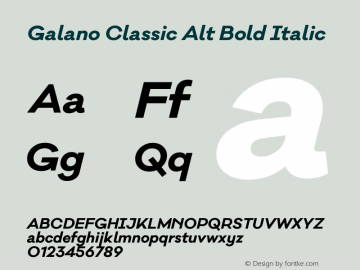 Galano Classic Alt Bold Italic Version 1.000;PS 001.000;hotconv 1.0.70;makeotf.lib2.5.58329图片样张