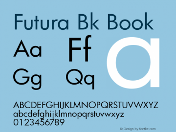 Futura Bk Book mfgpctt-v4.4 Mar 7 2000 Font Sample