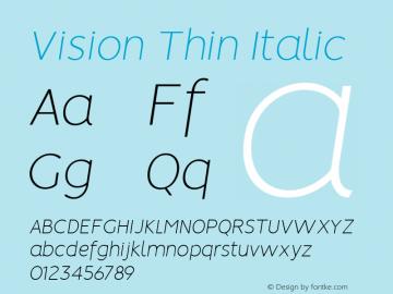 Vision Thin Italic 1.0图片样张
