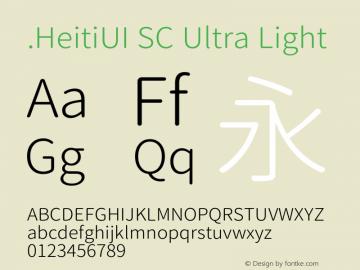 .HeitiUI SC Ultra Light  Font Sample