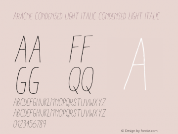 AracneCondensedLightItalic Version 1.000图片样张