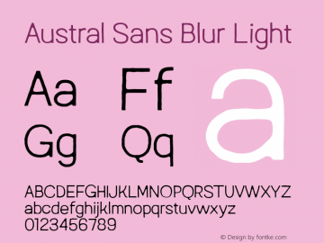Austral Sans Blur Light Version 1.000图片样张
